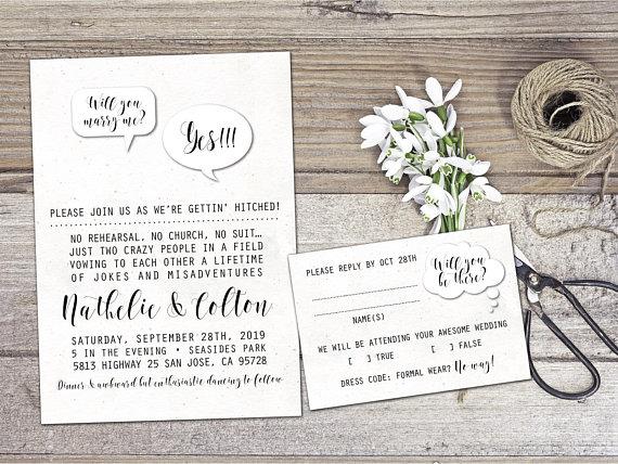 Wedding invitation non formal wedding invitation funny creative wedding invitation non formal wedding invitation funny creative casual wedding invitation printable pdf stopboris Gallery