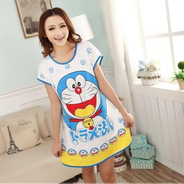 Cartoon Panda Rabbit Mini Dress Animal Sleep tops Women Casual Loose Cotton  Long Big Size T-shirt Nightgown Sleepwear 058aca5e9