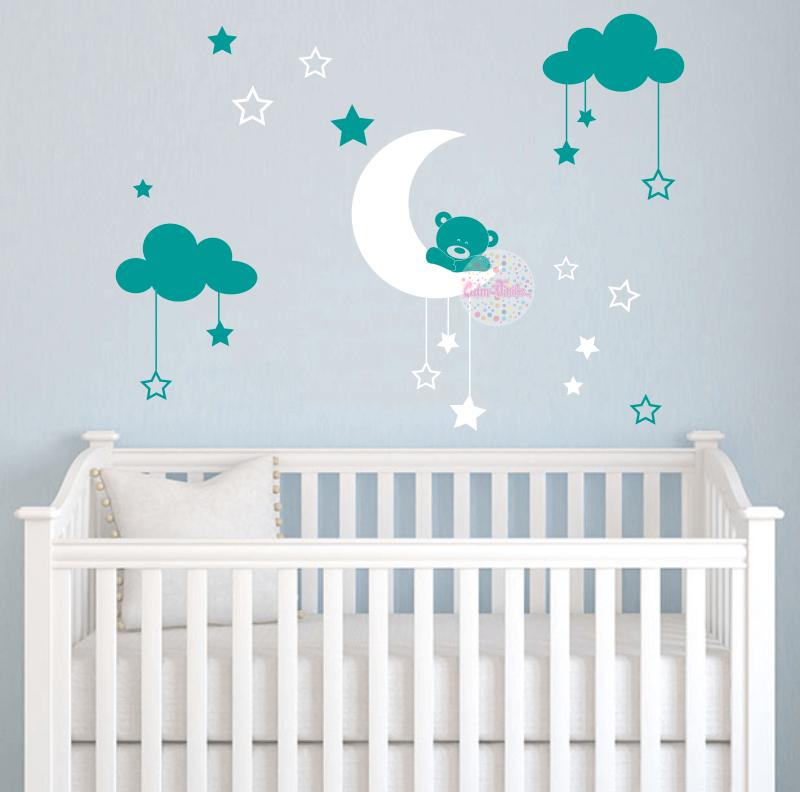 Vinilo infantil osito en luna con nubes y estrellas cdm - Estrellas decoracion infantil ...