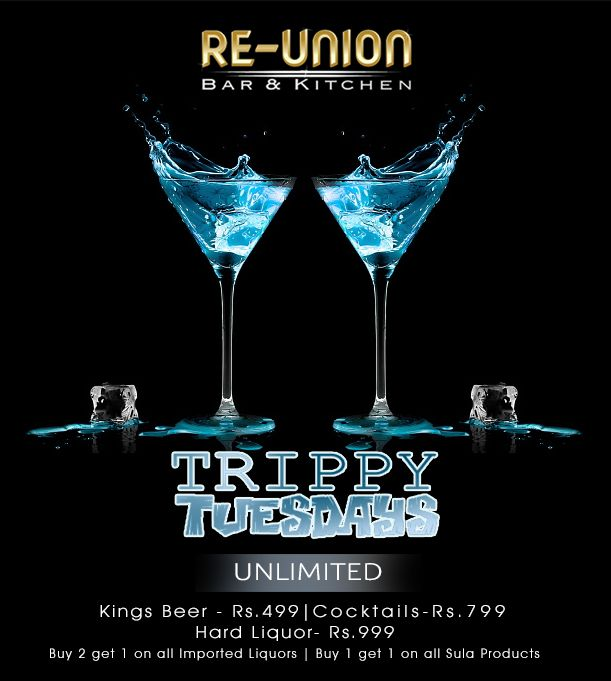Put On Your Party Hats And Enjoy At The Reunion Bar Kitchen Happy Hours Throughout The Day Unlimited Kings Beer Rs 499 U Union Bar Liquor Buy 1 Get 1