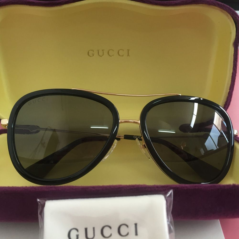 60ccd2ce976 Gucci GG0062S 001 Black Gold Metal Aviator Sunglasses Gold Mirror Lens 57mm   fashion  clothing  shoes  accessories  womensaccessories ...