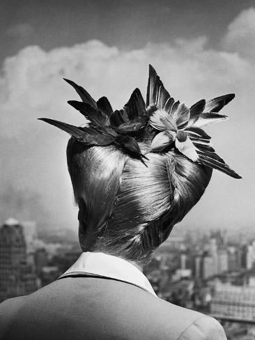 'Woman Showing Her Fashionable Wartime Hairstyle Called Winged Victory' Photographic Print - Nina Leen | Art.com