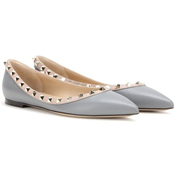 billiga priser bra passform bra utseende Valentino Rockstud Leather Ballerinas ($625) ❤ liked on Polyvore ...