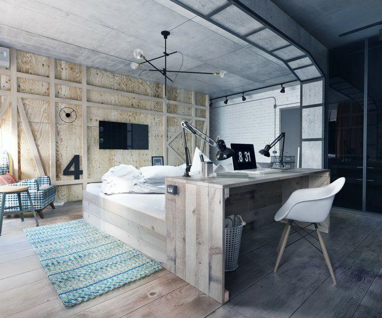 Schlafzimmer aus Holz - Bett und Schreibtisch sind ein gemeinsames ...