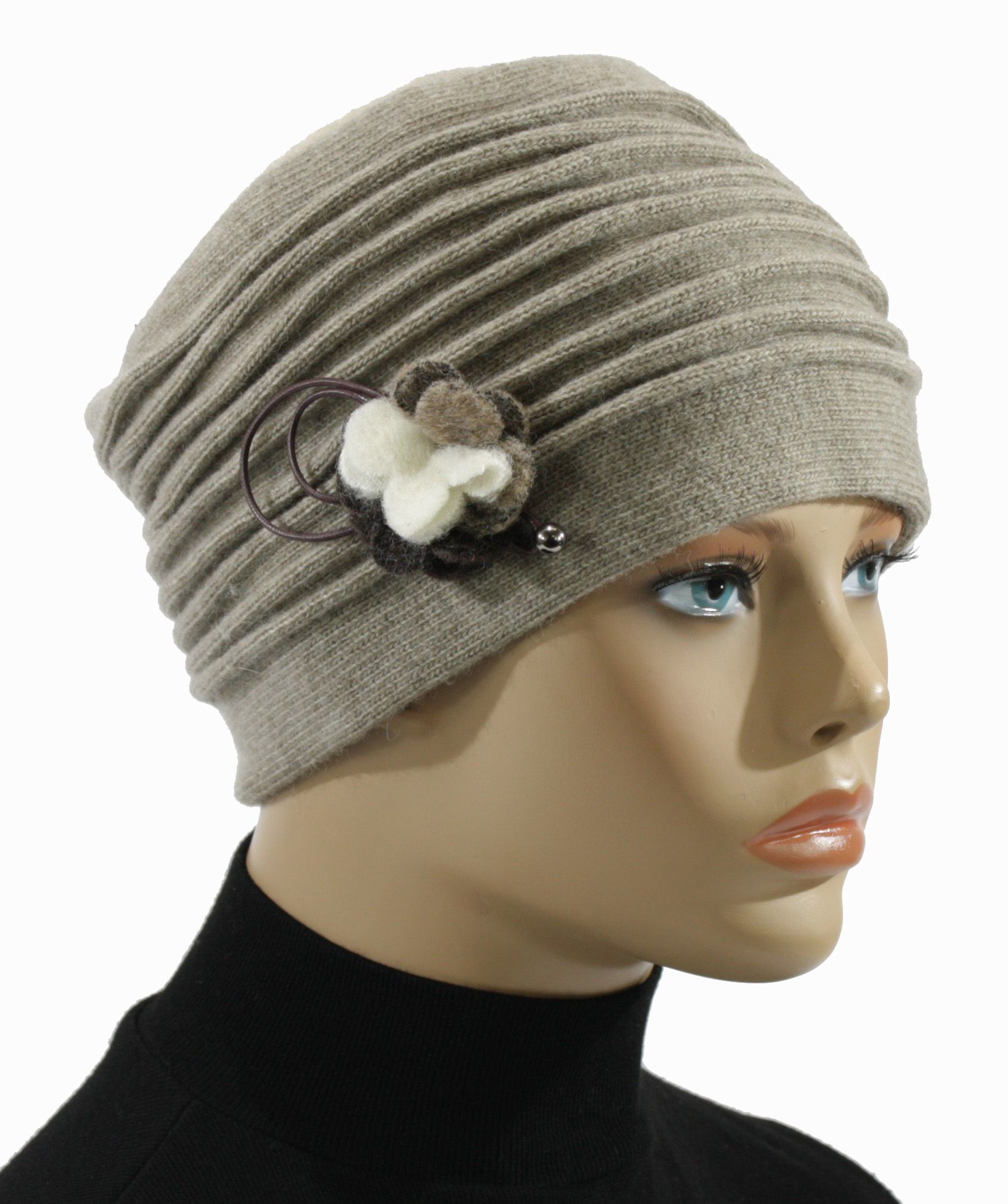 Wählen Sie für echte Online bestellen auf Füßen Bilder von Damen Wintermütze Wollmütze Wollkappe taupe Mariella ...