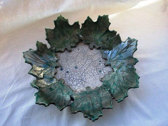 Handgemaakte raku keramiek blad plaat Certrotavola. Cadeau voor haar stuk Raku raku pot schotel RAKULAB op etsy-OOAK