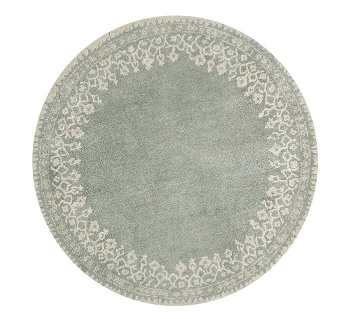 Desa Bordered Wool Rug Blue With Images Rugs Wool Rug Hand Tufted Rugs