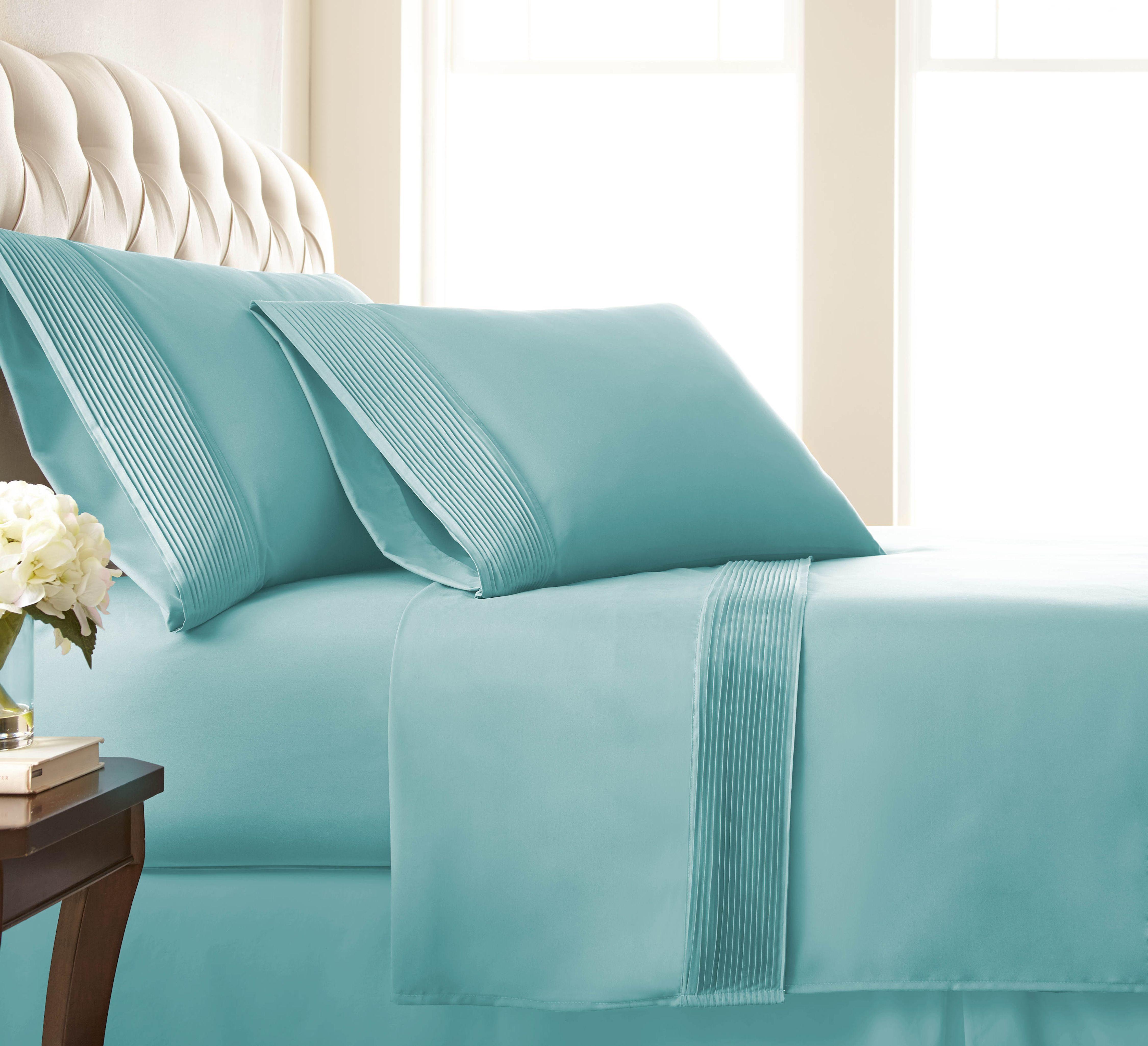 Blue extra deep pocket pleated sheet sets with pleated hem