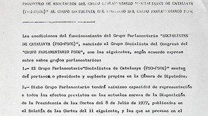 Texto íntegro del pacto PSC-PSOE de 1977 para compartir grupo en el Congreso