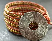 Pendant Beaded Fresh Water Pearl Leather Wrap Bracelet