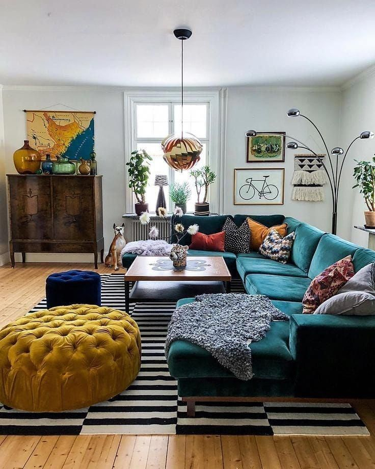 Green Couch Plus All The Colors Totally Doable With A Little Attention To Which Living Room Sets Furniture Colorful Eclectic Living Room Eclectic Living Room