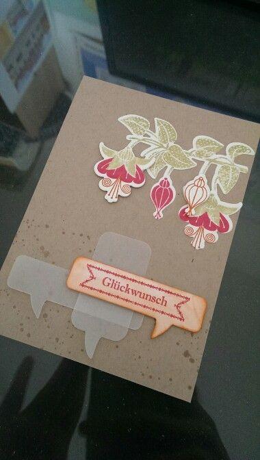Famose Fähnchen und Fabolous Fuchsias von Clearly Besotted Stamps - Glückwunschkarte zum neuen Job