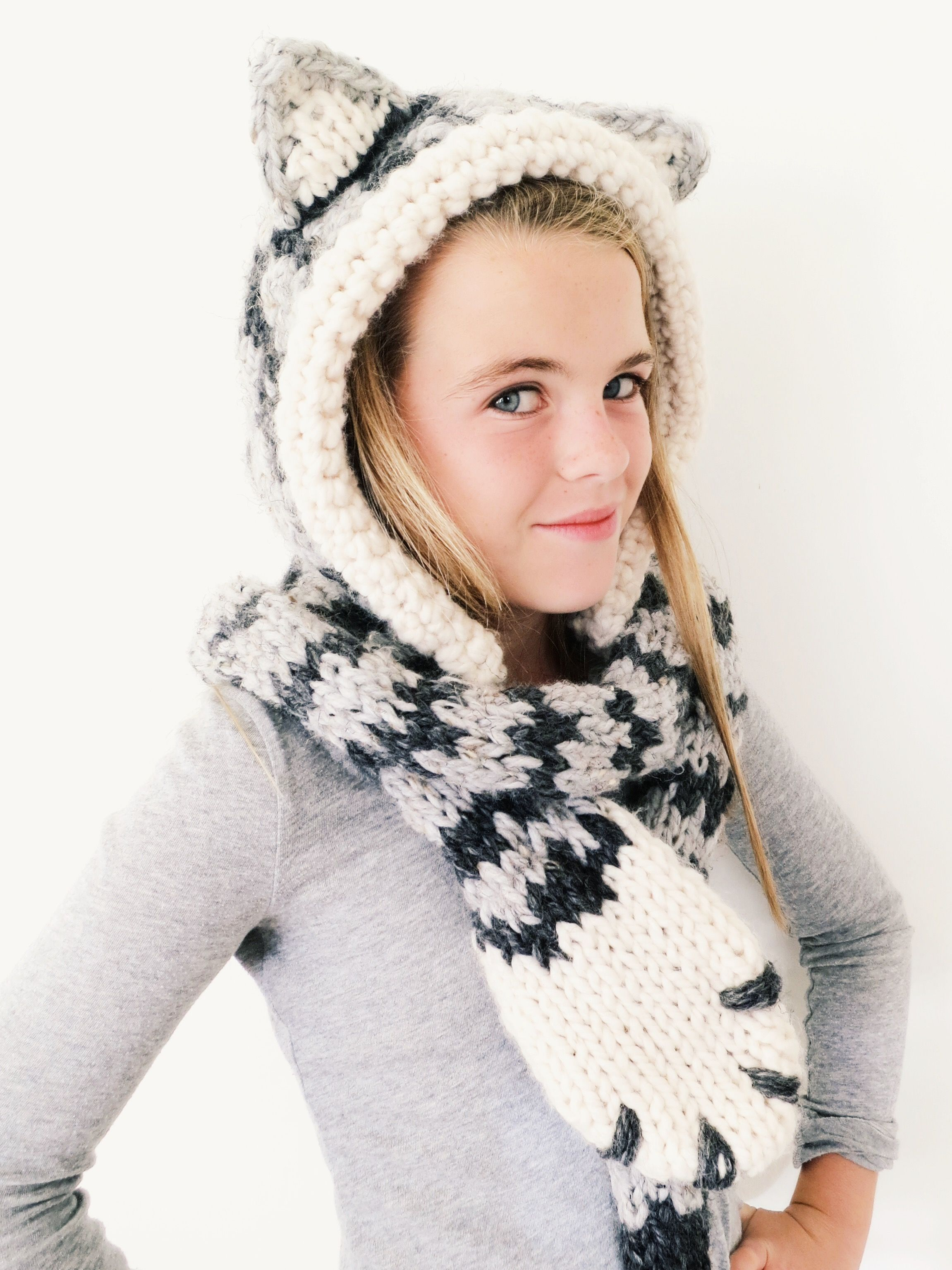 PATTERN for Cat Kitten Hat Hood Cowl Scarf Knit Toddler Child Adult ...
