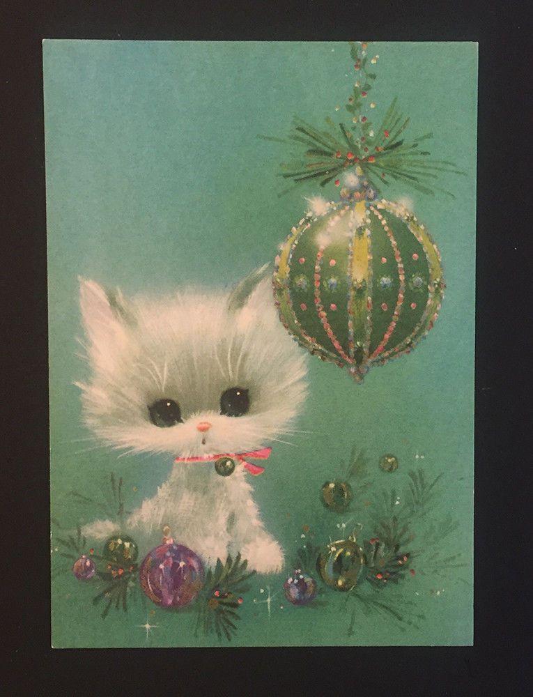 Vtg christmas white cat teal purple ornaments laurel american vtg christmas white cat teal purple ornaments laurel american greetings card 70s m4hsunfo