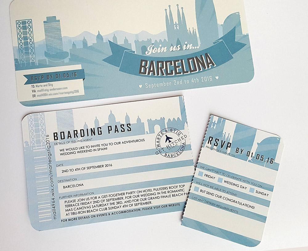 Barcelona Retro Style Airline Ticket Wedding Invitation ...