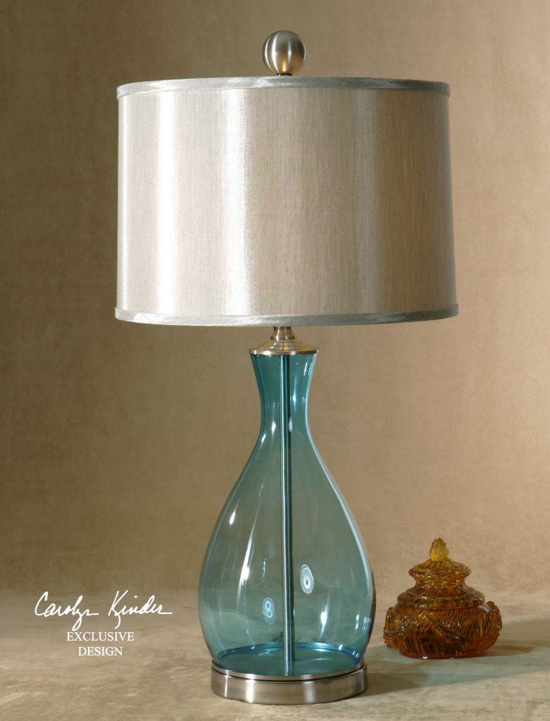 Superior Aqua Teardrop Glass Lamp
