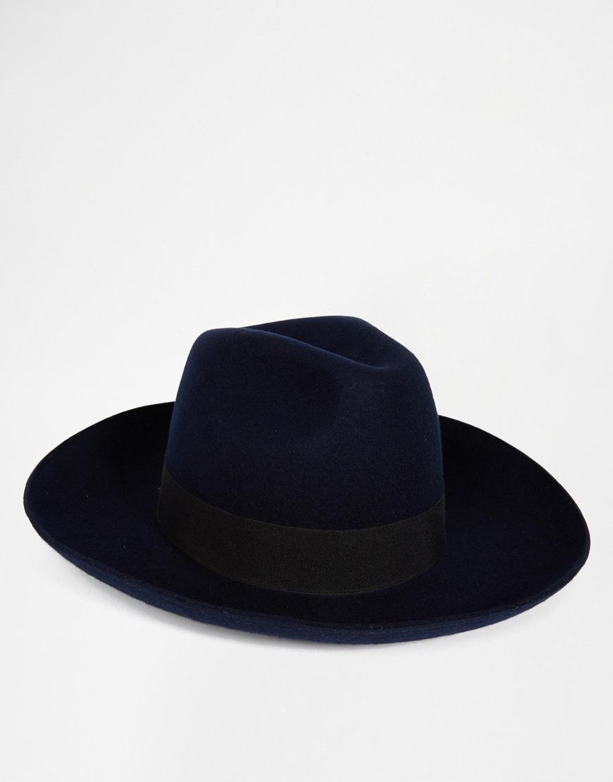 ASOS Oversized Fedora In Navy Felt With Wide Brim And Turn Up  e09ccd52aaf