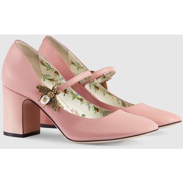 e774074038d1 Gucci Patent leather mid-heel pump with bee ( 725) ❤ liked on Polyvore  featuring shoes