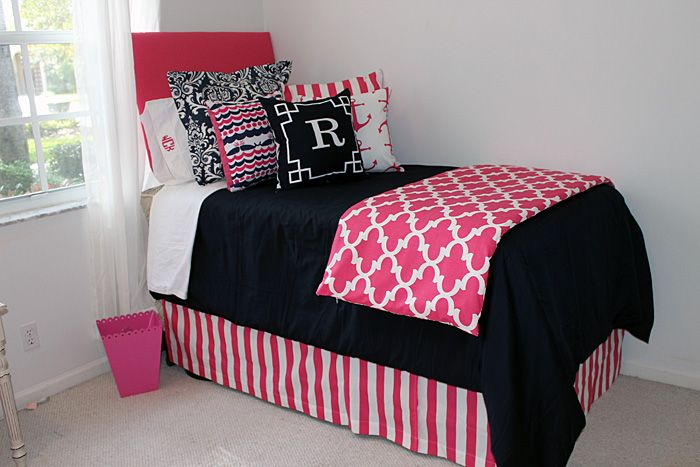 Preppy Dorm Bedding: Nautical Navy & Preppy Pink Designer Teen & Dorm Bed In A