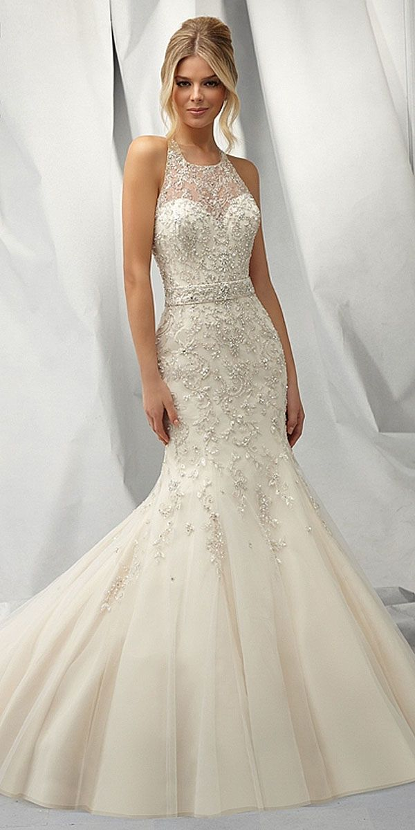 Glamorous Organza Tulle Sweetheart Neckline Natural Waistline Mermaid Wedding Dress With Embroidered Beadings
