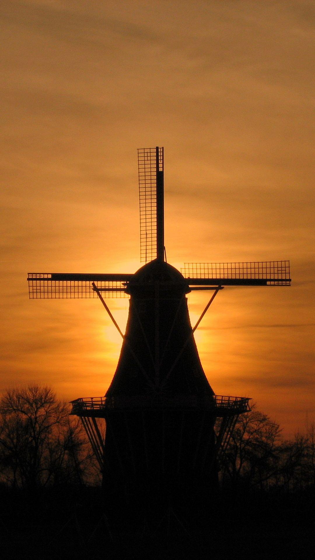 Man Made Windmill 1080x1920 Mobile Wallpaper Windmill Wallpaper Sun Panels