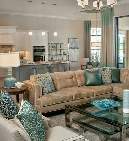Niiiiice brown and tiffany blue teal living room for Brown and blue living room designs