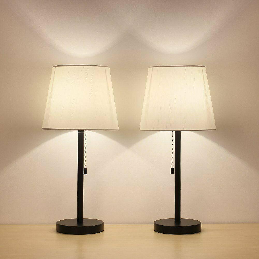 Table Lamp Set Of 2 Modern Desk Metal Body Nightstand Lamps