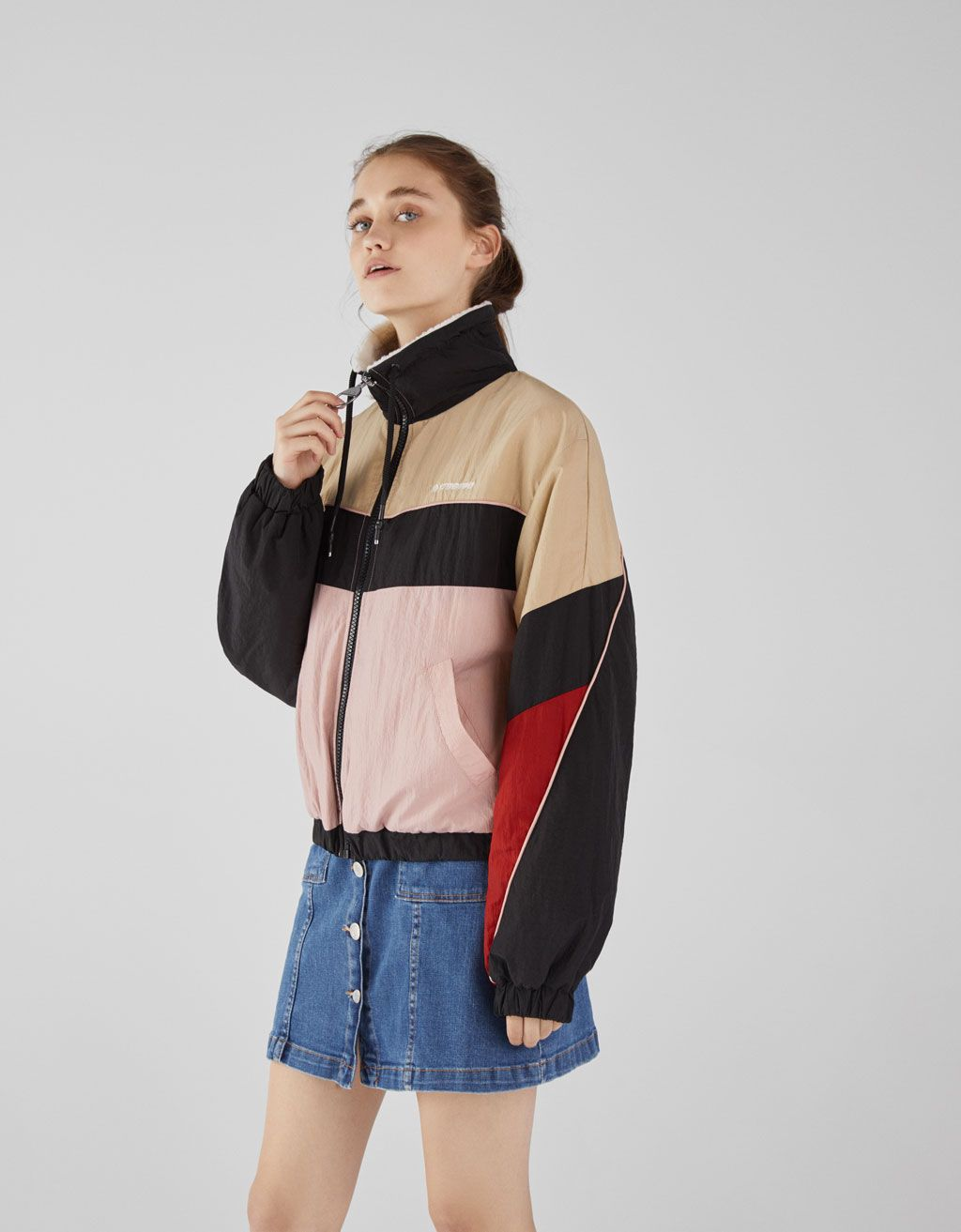 Three-tone jacket with faux shearling lining