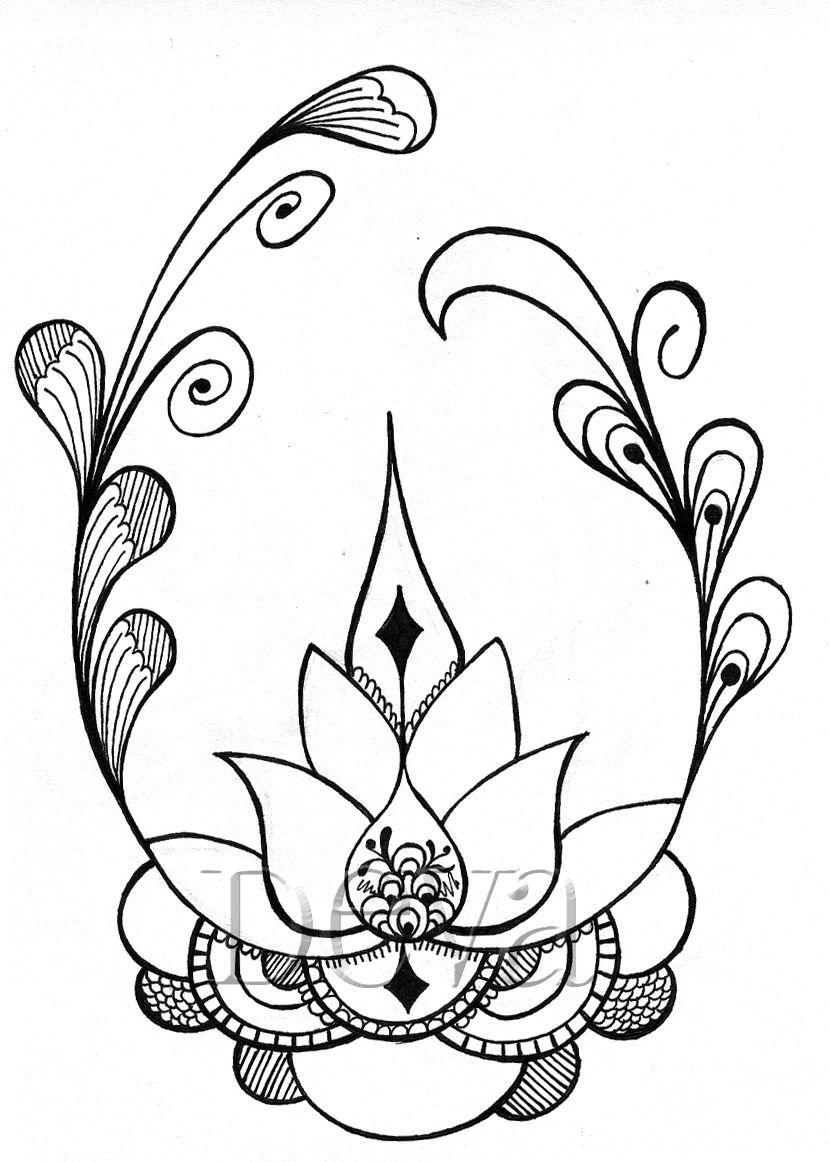 FLOR DE LOTO DIBUJO - Buscar con Google | Henna | Pinterest | Flor ...