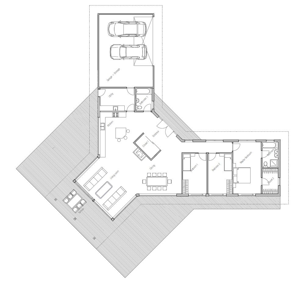 House Plan To Wide Lot Vaulted Ceiling
