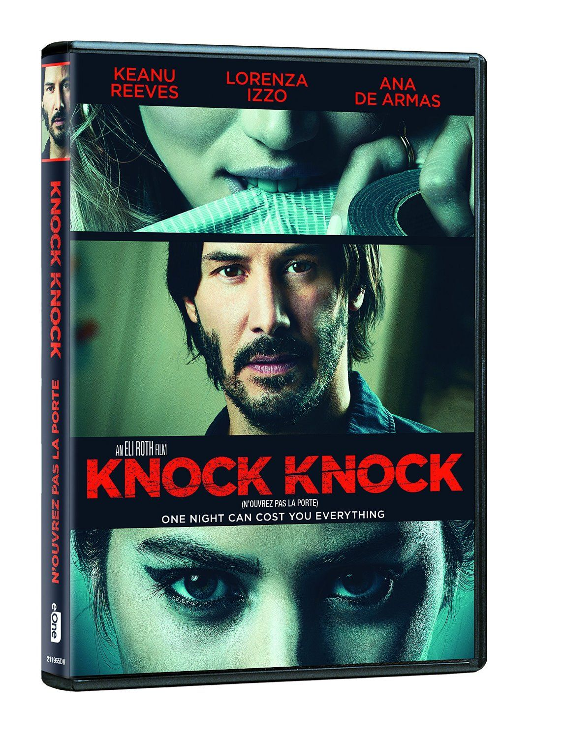 Knock Knock: Keanu Reeves,  A family man's kind gesture turns into a dangerous seduction and a deadly game of cat and mouse when he opens the door to two stranded