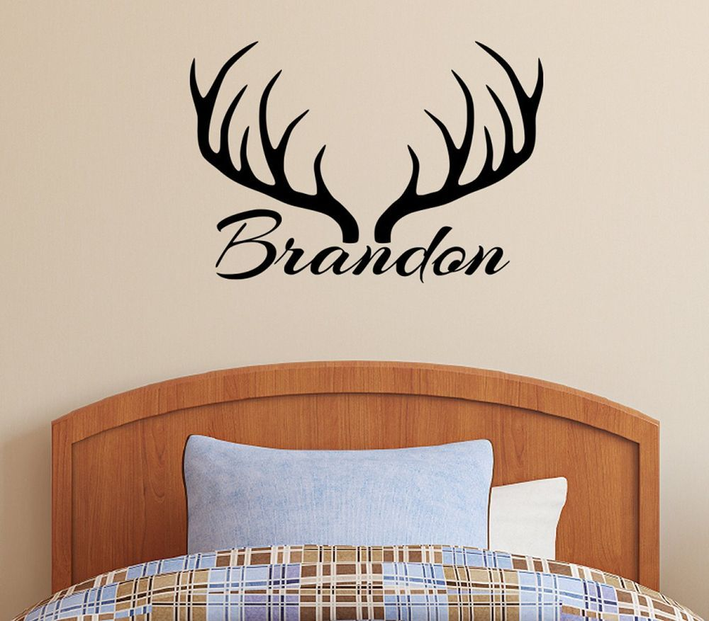 Nice Personalized Name U0026 Deer Antlers Rack Vinyl Wall Decal Sticker Hunting Decor