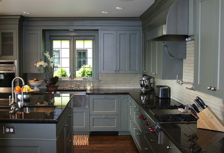 Gray Cabinets Dark Floor I Love That The Cabinets Go To The Awesome Blue Grey Kitchen Cabinets