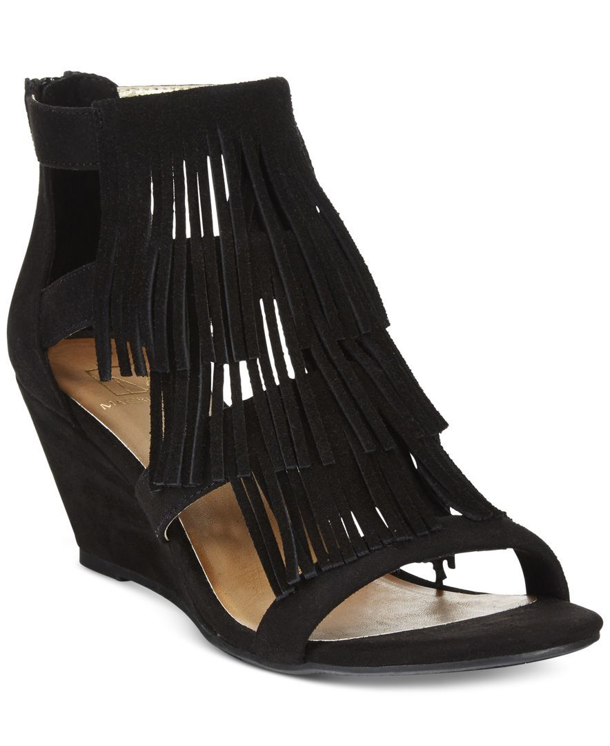 43840df4f Material Girl Hannah fringe gladiator sandals — rock these cute wedges with  a front-tied denim blouse and a long