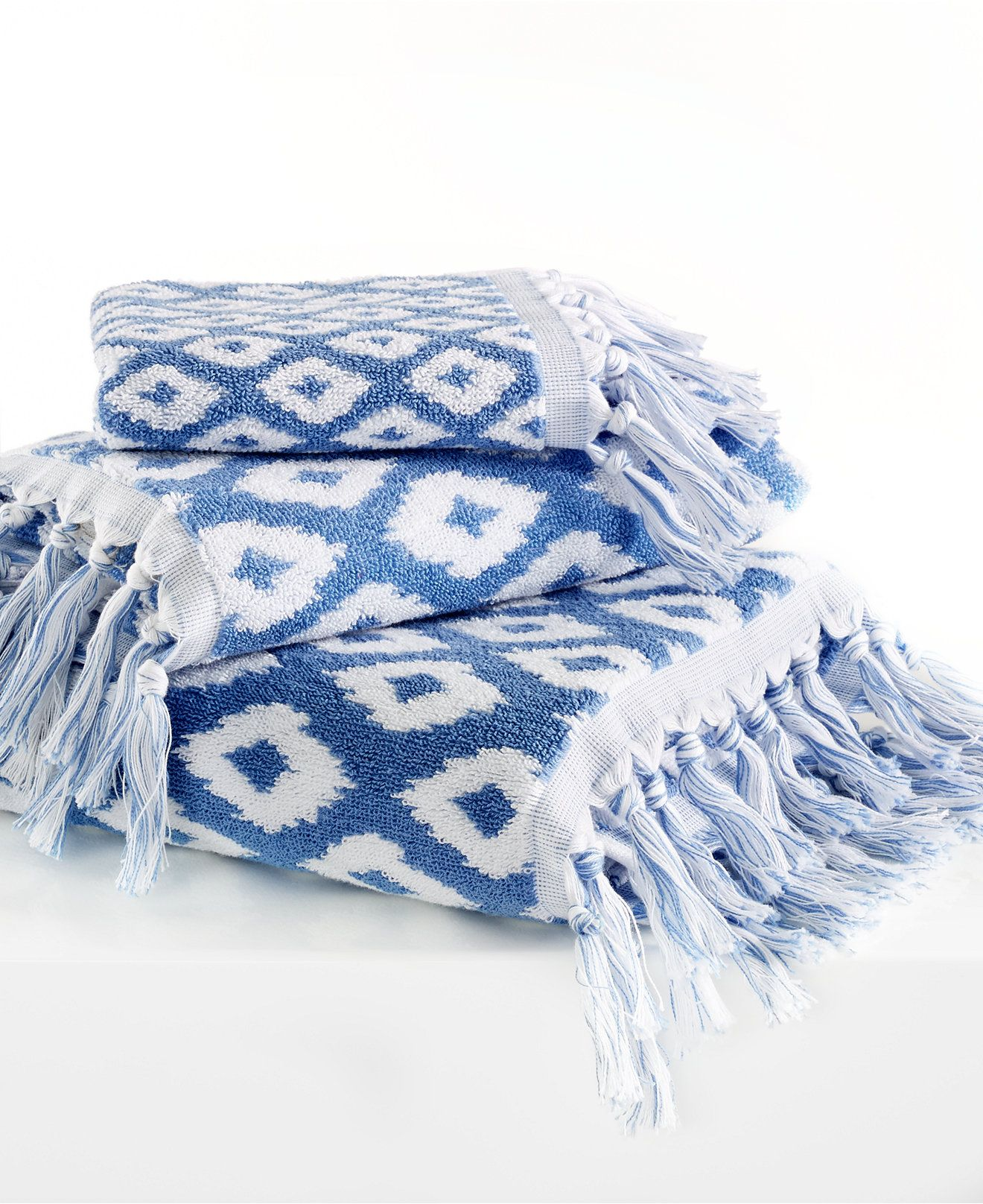 Dena Home Madison Jacquard Bath Towel Collection Towels Bath - Blue patterned towels for small bathroom ideas