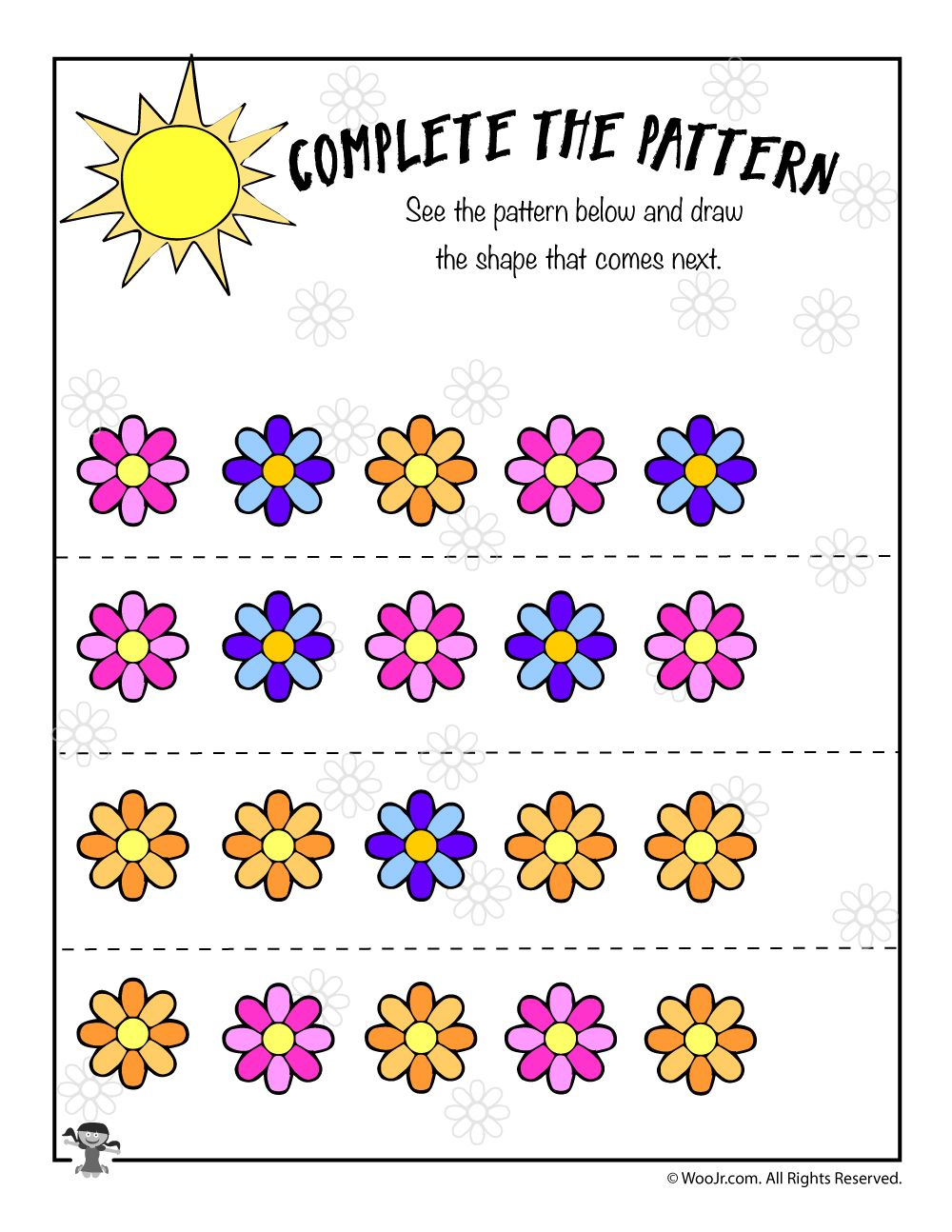 Flower Pattern Recognition Worksheet Spring Math Worksheets