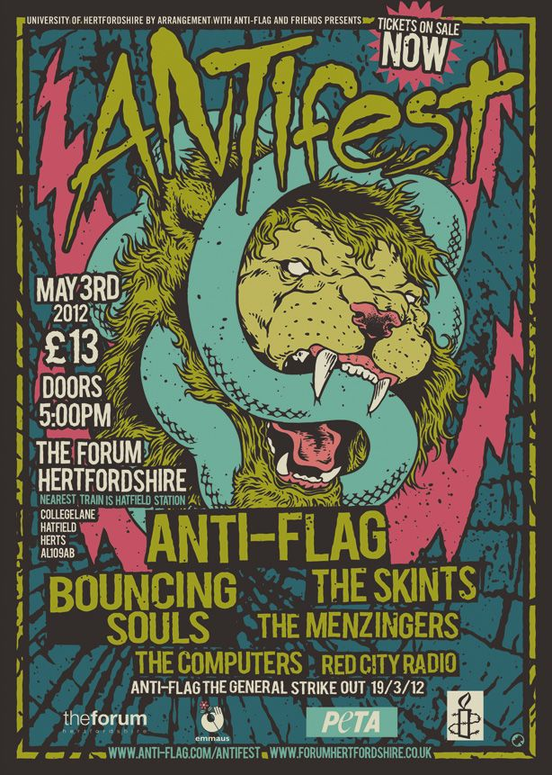 Anti Fest Jpg 614 861 Punk Poster Anti Flag Music Poster