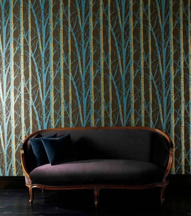 Wundervoll Ideen Für Wanddesign Tapete In Türkis Petrol Waldmuster Diomedes