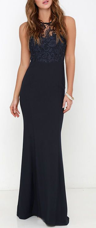 Photo of Oak and elm navy blue maxi dress with lace