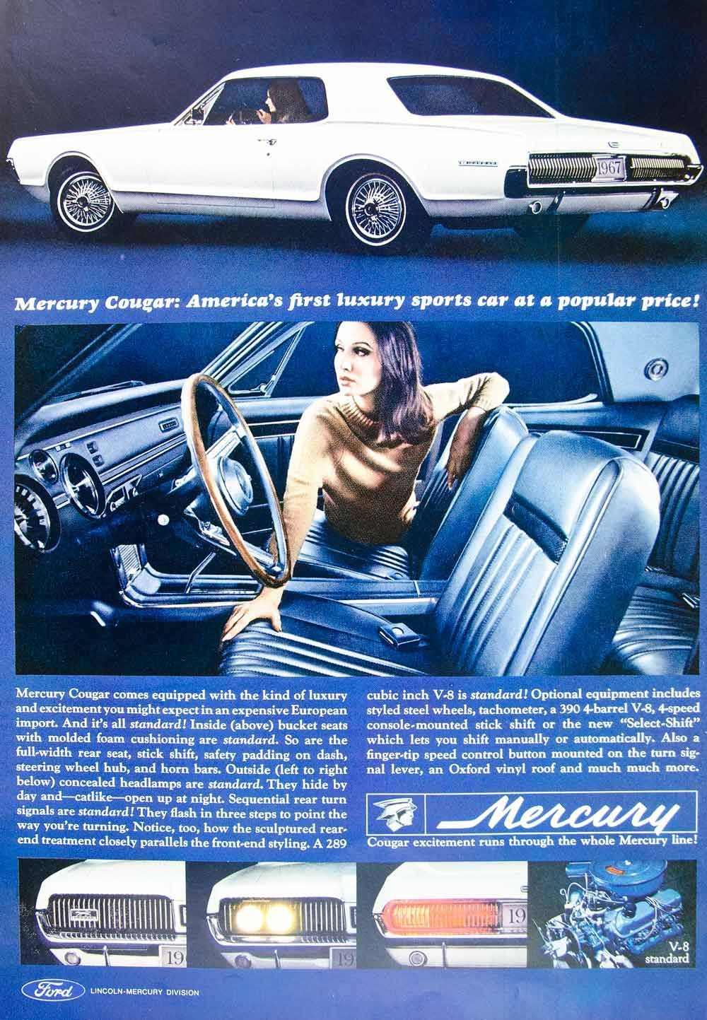 1966 Ad Vintage \'67 Ford Mercury Cougar White Sports Car Classic ...