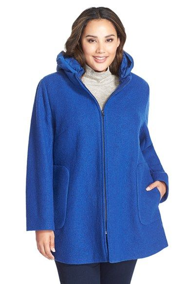 Kristen Blake Hooded Boiled Wool Blend Swing Coat (Plus Size) available at #Nordstrom