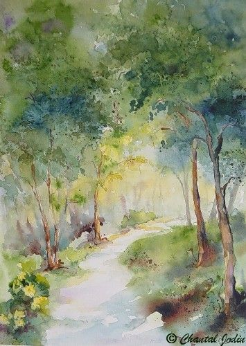 Chantal Jodin Watercolor Arbres En Aquarelle Dessin Paysage