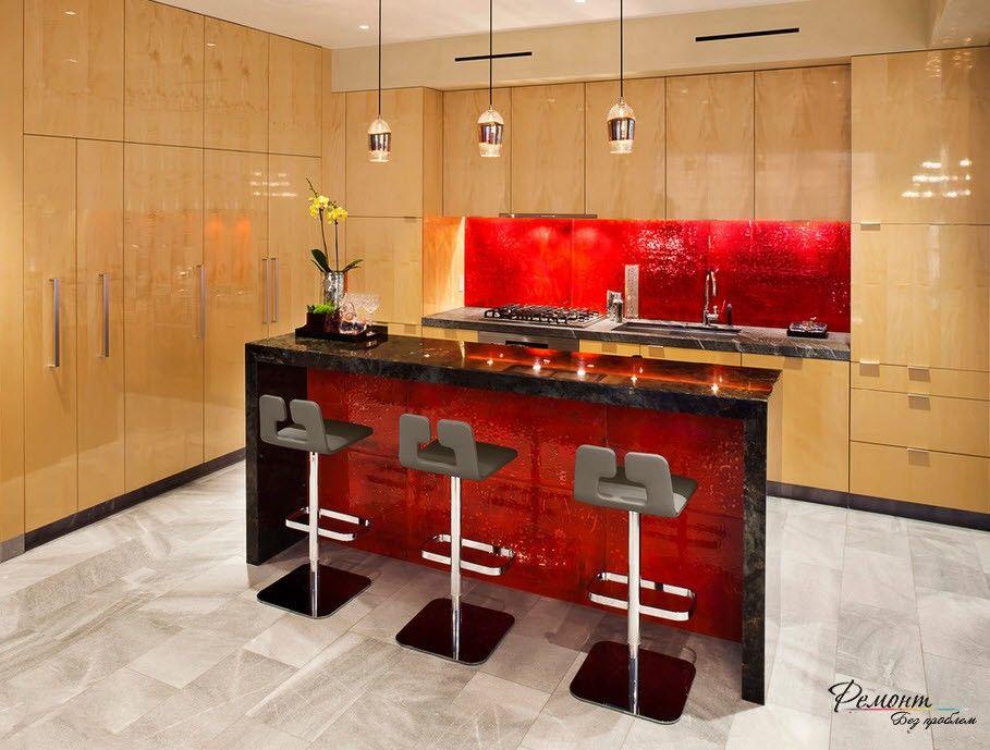 Любая фантазия на кухонном фартуке из стекла Кухня Интерьер и