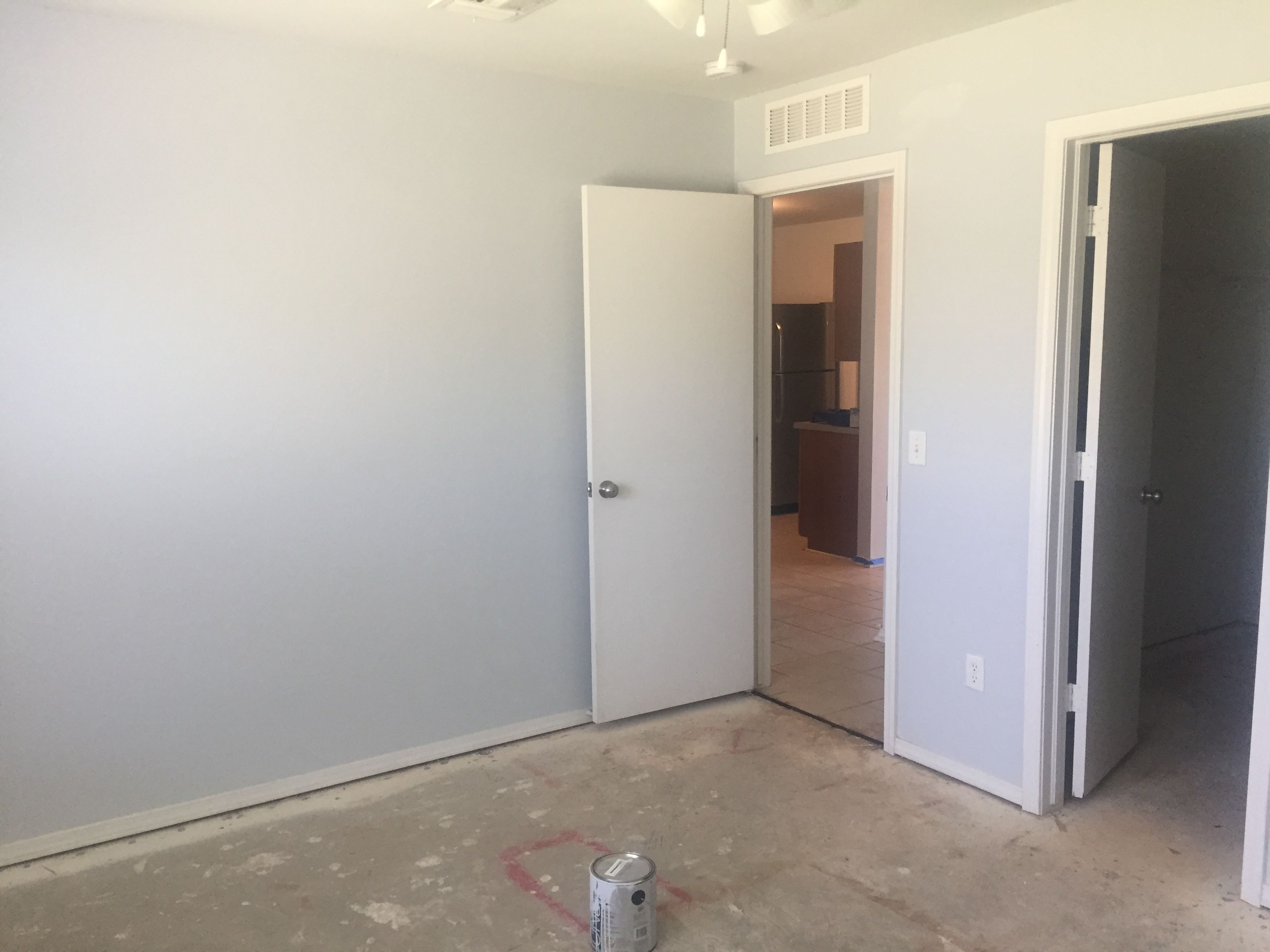 Olympic Elemental Paint A Perfect Grey Light Enough Not To Darken The Room And No Blue Or Beige Tint To It Living Room Paint House Styles Olympic Paint