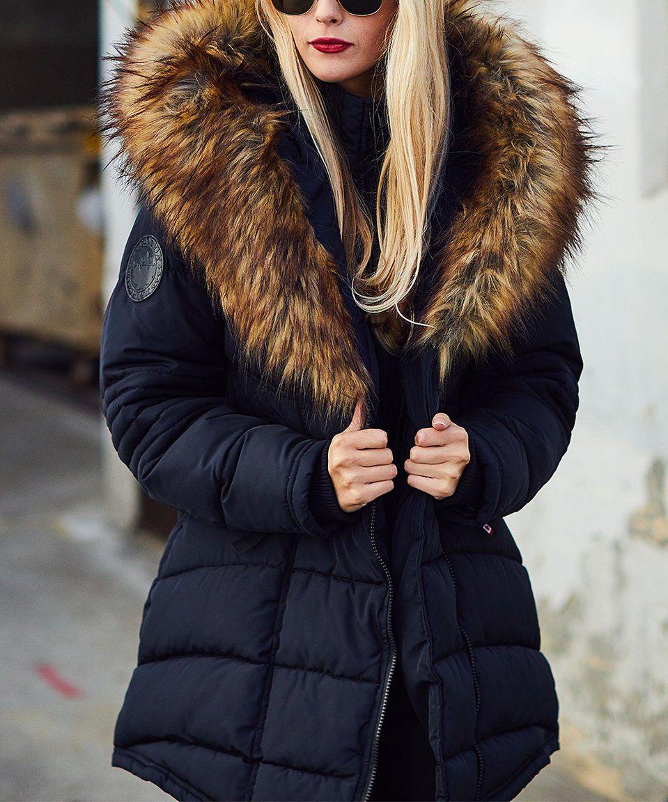 Take A Look At This Black Tan Faux Fur Collar Puffer Jacket Today Zhenskie Palto Zhenskie Kurtki Palto [ 1152 x 959 Pixel ]