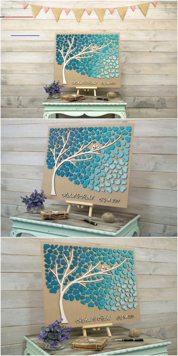 Custom guest book, Rustic guestbook, 3D Guest book, Unique guest book, Wooden guestbook, Wedding guest book ideas, Teal wedding color - #3D #Book #color #Custom #Guest #guestbook #heart #Ideas #Rustic #teal #unique #Wedding #wooden<br>