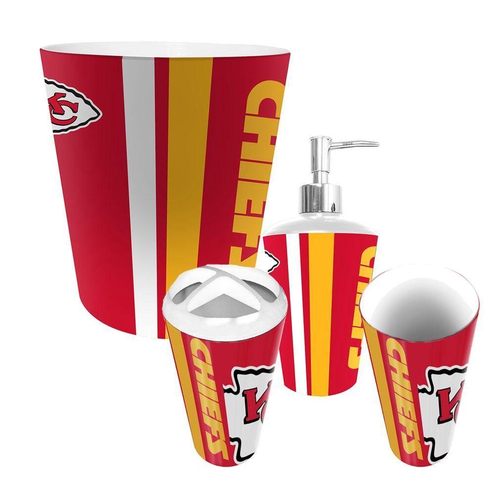Kansas City Chiefs Nfl Complete Bathroom Accessories 4pc Set