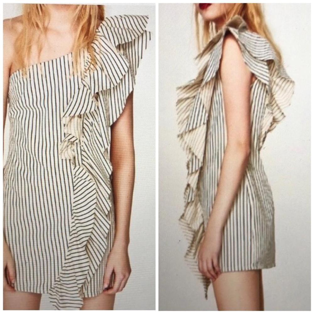 d335a11175 Zara NWT women's one shoulder ruffle denim dress size L white blue stripes  79 #Zara