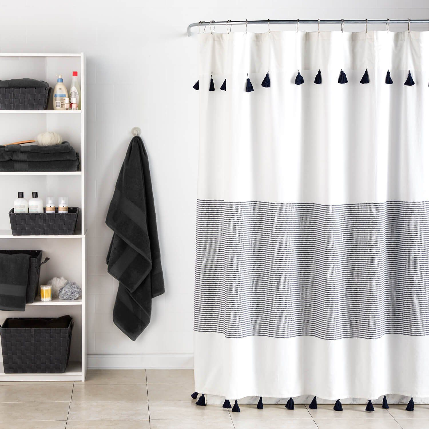 Panama Stripe Shower Curtain Striped Shower Curtains Black