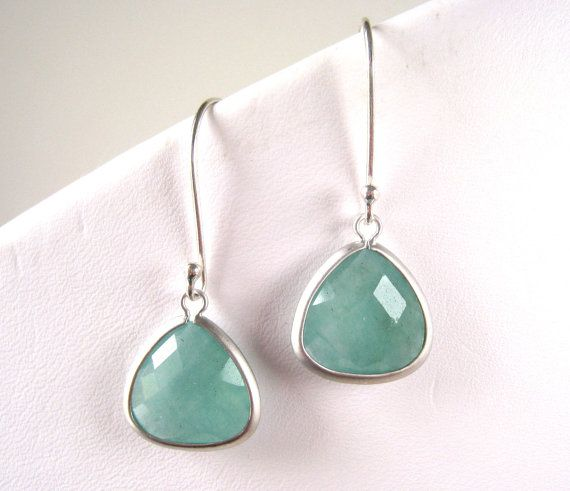 Mint Jade Silver Earring Aqua Mint Dangle by PhaedoraJDesigns, $19.00 LOOK FOR MINT JEWELRY LADIES!!